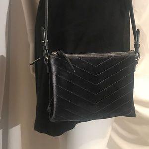 OldNavy Velvet Chevron Dark GrayGrey Crossbody Bag